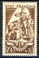 Francia 1943 N. 578 F. 2,40+7 Pro Soccorso Nazionale MNH GO Catalogo € 20 - Unused Stamps