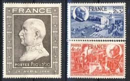 Francia 1944 Serie N. 606-608 Anniversrio Petain MH GO Catalogo € 3,75 - Unused Stamps