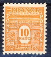 Francia 1944 S N. 629 F. 10 Arancio Arco Di Trionfo 1a Serie MNH GO Catalogo € 38,50 - Unused Stamps