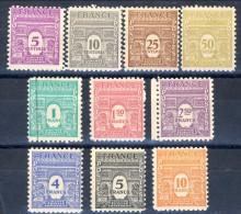 Francia 1944 Serie N. 620-629 Arco Di Trionfo 1a Serie MNH GO Catalogo € 40 - Unused Stamps