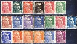Francia 1945 - 47 Serie N. 712-724 Marianne De Gandon MNH GO Catalogo € 47 - Francia