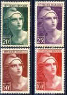 Francia 1945 - 47 Serie N. 725-733 Marianne De Gandon I 4 Alti Valori MLH GO Catalogo € 12,45 - Ungebraucht