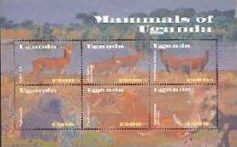 UGANDA    1779 MINT NEVER HINGED MINI SHEET OF WILDLIFE & ANIMALS - Postzegels