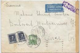 LBL36 - ESPAGNE LETTRE A DESTINATION DE PARIS - AVRIL 1937 CENSURE - 1931-Aujourd'hui: II. République - ....Juan Carlos I