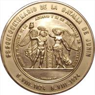 VENEZUELA. MEDALLA OFICIAL DEL SESQUICENTENARIO DE LA BATALLA DE JUNÍN. 1.974. PLATEADA - Monarquía / Nobleza