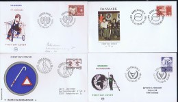 Denmark; 1979 - 1986;  4 FDC With Charity Issues - FDC