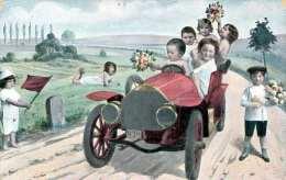 OLDTIMER KINDER STRASSENRENNEN, Künstlerkarte Gel.191? - Humorvolle Karten