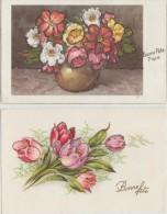 23  C P A    Fleurs  Avec  Paillettes  Scintillantes - Fleurs