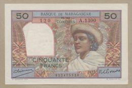 MADAGASCAR - 50 Francs  1950-1  P45a  EF  ( Banknotes ) - Madagascar