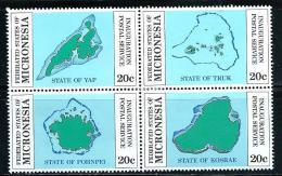 "Micronesia    ""Postal Service Inaguration""      Block Of 4    SC# 1-4a     MNH** - Micronesia"