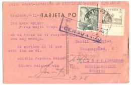 1941 Postal Figueras En ESPERANTO Para Suécia CENSURADO - Nationalistische Zensur
