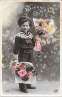 CPA COLORISEE FETE - BONNE ANNEE - Un Petit Garçon Aux Bouquets De Fleurs - ENCH1202 - - Nouvel An