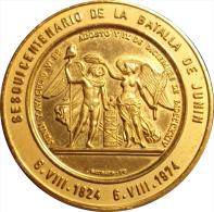 VENEZUELA. MEDALLA OFICIAL DEL SESQUICENTENARIO DE LA BATALLA DE JUNÍN. 1.974. DORADA - Monarquía / Nobleza