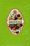 SUPERBE  Etiquette Ancienne  De Sirop GROSEILLE En Medaillon  : Decor De Fruits  Bordure Couleur OR - Fruit En Groenten