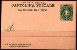 COLONIA ERITREA 1893 - Entire Postal Card Of 5 Centesimi, Unused - Eritrea