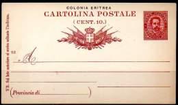 COLONIA ERITREA 1893 - Entire Postal Card Of 10 Centesimi, Unused - Eritrea