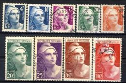 Francia 1945 - 47 Serie N. 725-733 Marianne De Gandon Usati Catalogo € 19 - Gebraucht