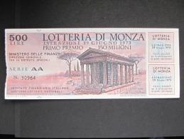 BIGLIETTO LOTTERIA 1973 MONZA CON TAGLIANDI SPL - Lottery Tickets