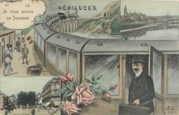 24 Périgueux, Ancienne Fantaisie, Je Vous Envoie Ce Souvenir, Train Et Voyageurs..., Carte Colorisée Affranchie 1909 - Périgueux