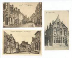 BELGIQUE - POPERINGHE - 3 CPA : Rue De L'Hôpital - Rue D'Ypres - Postbureel - Poperinge