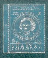 Sharjah - Ludwig Van Beethoven ( Timbre Sur Feuille D´argent ) - Bord De Feuille - Luxe - Sharjah