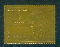 Sharjah - Mozart ( Timbre Sur Feuille D´or ) Luxe - Sharjah