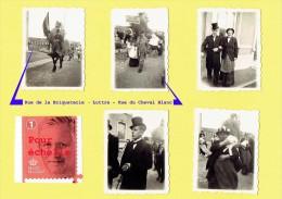 Lot De 5 Mini - Photos - Prises à L´ Occasion Des Festivités Pour Le Retour D´un Déporté De Luttre En Août 1945  (4116) - Oorlog, Militair