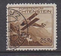 """Liechtenstein 1935 Airmail 25Rp Used  Ca """"Vaduz 35"""" (27575A) - Air Post"""