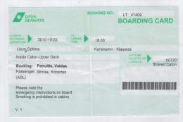 Boarding Card  Karlshamn-Klaipeda - Transportation Tickets