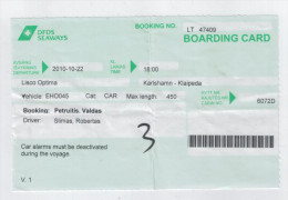 Boarding Card  Karlshamn-Klaipeda - Autres