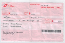 Boarding Card Klaipeda -  Karlshamn - Transportation Tickets