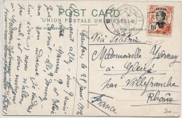 LBL36 -CANTON TYPE ANNAMITE 10c SURCH.  SUR CPA JANVIER 1912 - Canton (1901-1922)