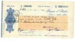 BANCA D'ITALIA ADDIS ABEBA ASSEGNO BANCA D'ITALIA DA 875 LIRE DOC.196 - Assegni & Assegni Di Viaggio
