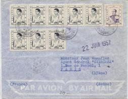 LBL36 -CAMBODGE AFFR.T MULTIPLE  SUR LETTRE AVION DE JUIN 1957 - Cambodge