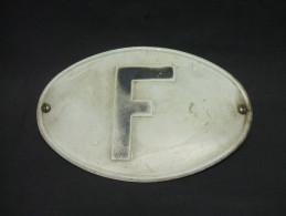 Ancienne PLAQUE MINÉRALOGIQUE En Métal F (France) En Relief - Plaques D'immatriculation