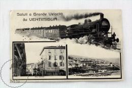 1930 Italiy Postcard - Saluti/ Gruss/ Greetings At Top Speed From Ventimiglia - Train On Railway, Via Cavour & Panor - Trenes
