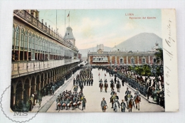 Old 1907 Peru Postcard - Lima - Formacion Del Ejercito - Army Formation - Posted - Perú