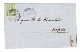 Heimat ZH AUSSERSIHL 14.3.1876 Brief Nach Napoli Mit 25Rp. Sitzende Helvetia - 1862-1881 Helvetia Assise (dentelés)
