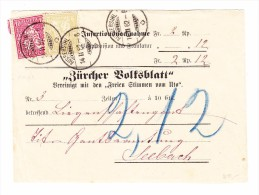 """Heimat ZH AUSSERSIHL 14.2.1882 2-Kreis-O Streifband """"Zürcher Volksblatt"""" Mit 2 Und 10Rp Sitzende - 1862-1881 Sitzende Helvetia (gezähnt)"""