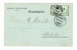 Heimat ZH ALTSETTEN 13.12.1900 (Zürich) Mit 5Rp UPU Schweiz. Nordostbahn  Postkarte - 1882-1906 Armoiries, Helvetia Debout & UPU