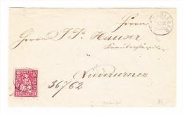 Heimat ZH ALBISRIEDEN 12.3 Zwergstempel Mit 10Rp. Sitzende Brief Nach Niederurnen - 1862-1881 Sitzende Helvetia (gezähnt)