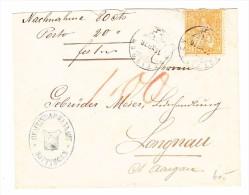 Heimat ZH HUTTINGEN 16.12.1876 Amtsbrief Nach Langnau Mit 20Rp Sitzende Helvetia - 1862-1881 Helvetia Assise (dentelés)