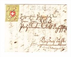 Heimat ZH HIRSLANDEN Balkenstempel Faltbrief 1854 Mit Rayon II Gelb Ferderentwertung 3 Seitig Vollrandig - 1843-1852 Timbres Cantonaux Et  Fédéraux