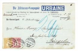 Heimat ZH NEUMÜNSTER 27.2.1878 Vorgedrückte Versicherungs Karte Nach Bürglen Mit 2 Und 10Rp Sitzende Helvetia - 1862-1881 Helvetia Assise (dentelés)