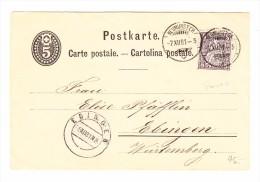 Heimat ZH NEUMÜNSTER 7.12.1881 Postkarte 5Rp Mit 5Rp Sitzende Zusatz Nach Ebingen - 1862-1881 Helvetia Assise (dentelés)