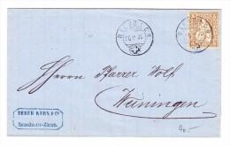 Heimat ZH RIESBACH 26.2.1872  Briefhülle Nach Weiningen Mit 5Rp. Sitzende Helvetia - 1862-1881 Helvetia Assise (dentelés)