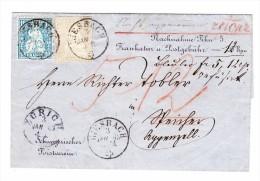 Heimat ZH RIESBACH 3.1.1863 Ref. NN Brief Nach Speicher Mischfrankatur 2Rp Strubel Und 10Rp Sitzende - 1854-1862 Helvetia (Non-dentelés)