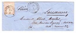 Heimat ZH SCHWAMENDINGEN 13/3 (1858) 2Kreis Stempel  Brief Nach Lausanne Mit 15Rp Strubel - Lettres & Documents