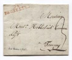 LAC Raboté En Bas Daté De Bruxelles 24/3/1796 Griffe 94 Bruxelles Taxée 3 Pour Tournay(Tournais) PR2765 - 1794-1814 (French Period)