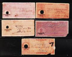 BRITISH INDIA KGV 5 DIFF. OVERPRINT KHAIRAGARH STATE CF REVENUE FISCAL OLD RARE USED STAMPS COND. GAP FILLER #D1 - India
